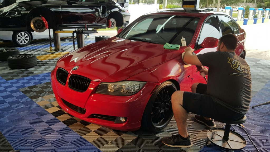 csII ceramic auto coating being applied to BMW
